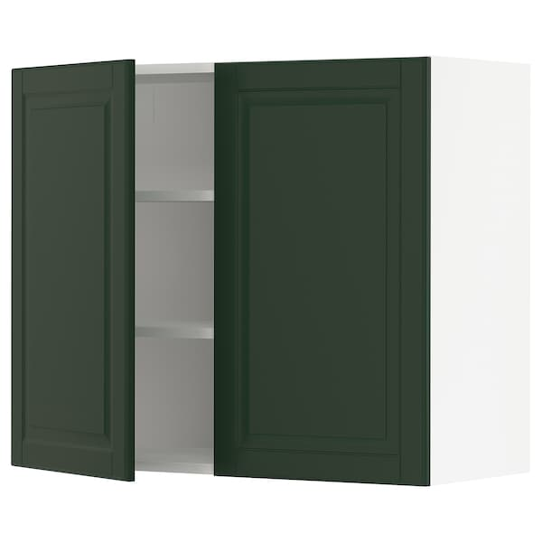 """SEKTION Wall cabinet with 2 doors, white/Bodbyn dark green, 36x15x30 """""""