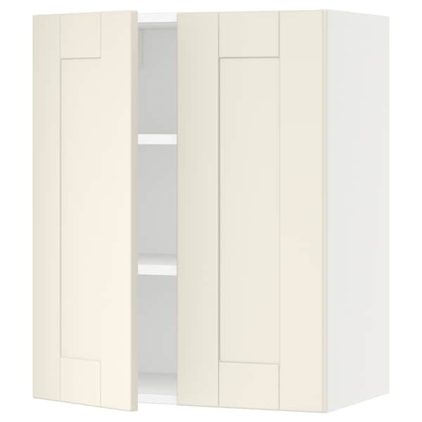 """SEKTION Wall cabinet with 2 doors, white/Grimslöv off-white, 24x15x30 """""""