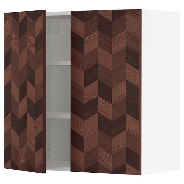 """SEKTION Wall cabinet with 2 doors, white Hasslarp/brown patterned, 30x15x30 """""""