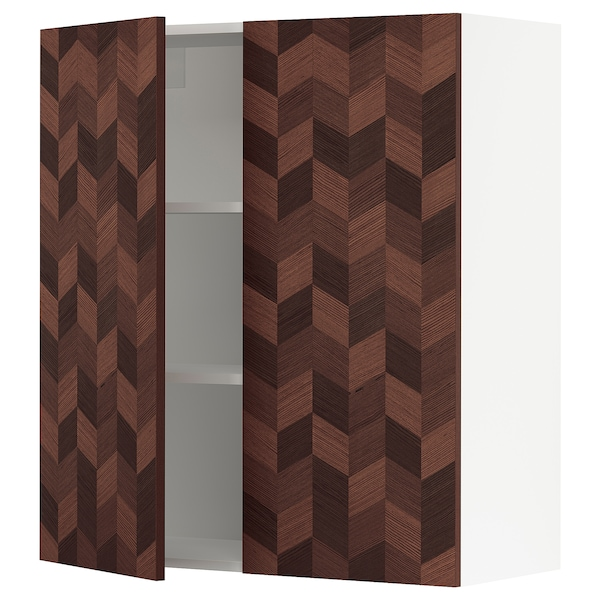 """SEKTION Wall cabinet with 2 doors, white Hasslarp/brown patterned, 36x15x40 """""""