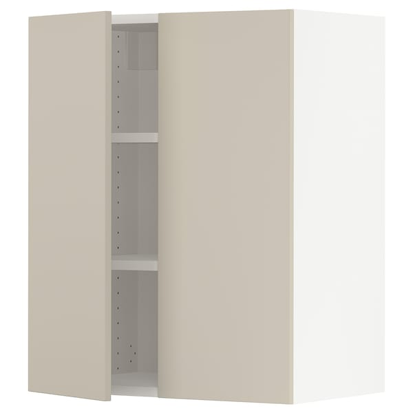 """SEKTION Wall cabinet with 2 doors, white/Havstorp beige, 24x15x30 """""""