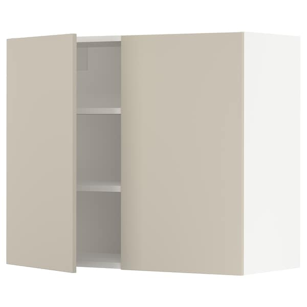 """SEKTION Wall cabinet with 2 doors, white/Havstorp beige, 36x15x30 """""""