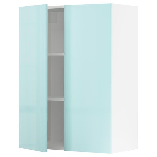 "SEKTION Wall cabinet with 2 doors, white Järsta/high gloss light turquoise, 30x15x40 """
