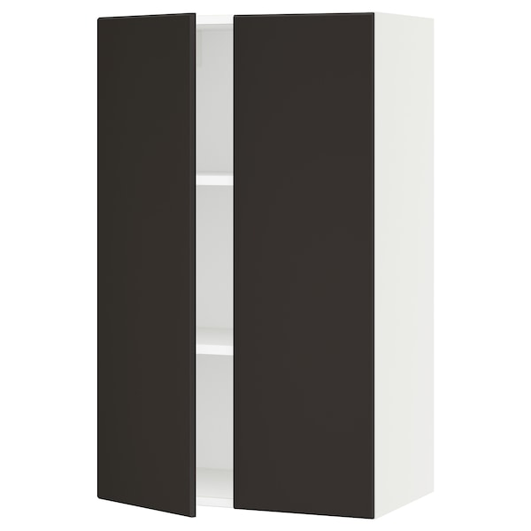 """SEKTION Wall cabinet with 2 doors, white/Kungsbacka anthracite, 24x15x40 """""""