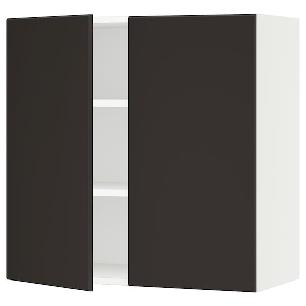 """SEKTION Wall cabinet with 2 doors, white/Kungsbacka anthracite, 30x15x30 """""""
