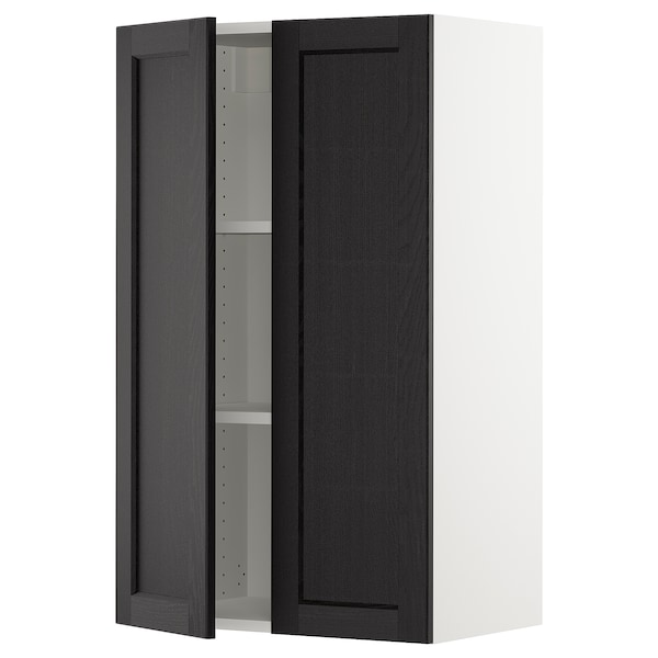 """SEKTION Wall cabinet with 2 doors, white/Lerhyttan black stained, 24x15x40 """""""
