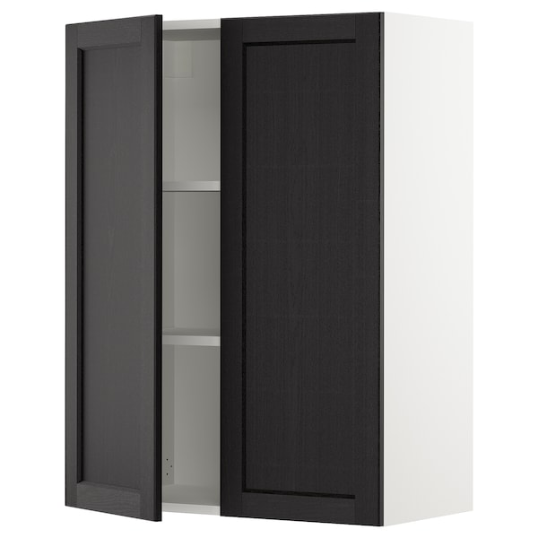 """SEKTION Wall cabinet with 2 doors, white/Lerhyttan black stained, 30x15x40 """""""