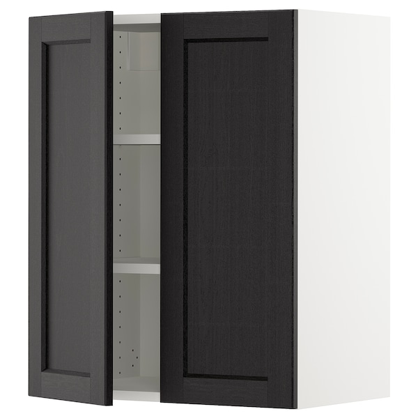 """SEKTION Wall cabinet with 2 doors, white/Lerhyttan black stained, 24x15x30 """""""