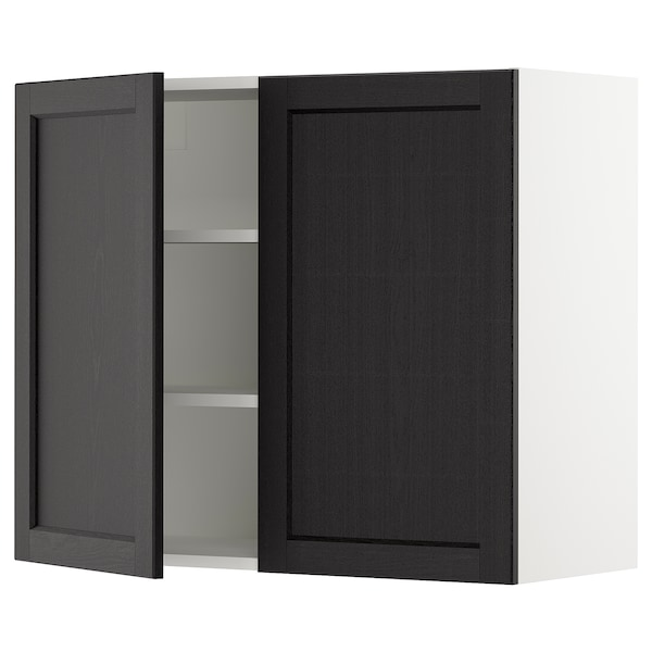 """SEKTION Wall cabinet with 2 doors, white/Lerhyttan black stained, 36x15x30 """""""