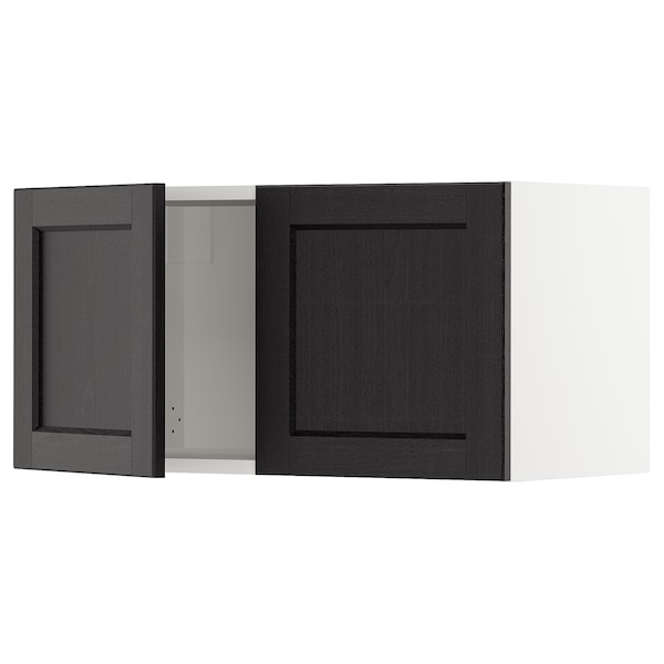 """SEKTION Wall cabinet with 2 doors, white/Lerhyttan black stained, 30x15x15 """""""