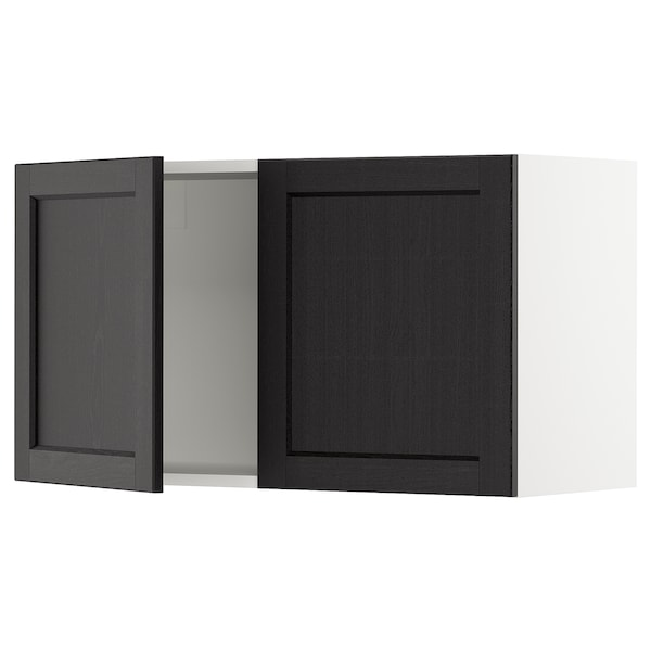 SEKTION Wall cabinet with 2 doors, white/Lerhyttan black stained, 36x15x20 ""