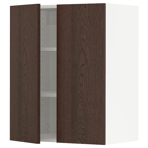 """SEKTION Wall cabinet with 2 doors, white/Sinarp brown, 24x15x30 """""""