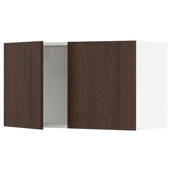 """SEKTION Wall cabinet with 2 doors, white/Sinarp brown, 36x15x20 """""""