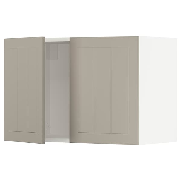 SEKTION Wall cabinet with 2 doors, white/Stensund beige, 30x15x20 ""