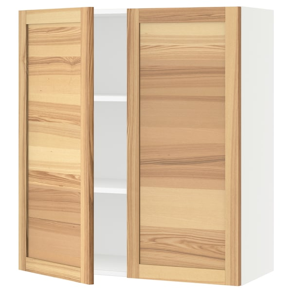"""SEKTION Wall cabinet with 2 doors, white/Torhamn ash, 36x15x40 """""""