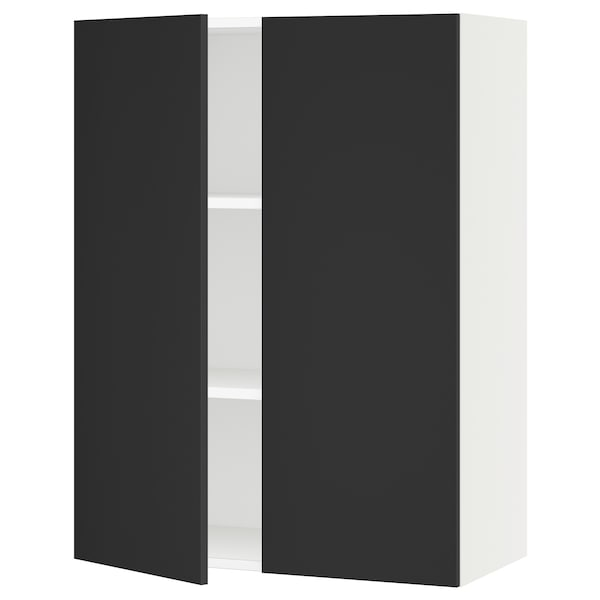 """SEKTION Wall cabinet with 2 doors, white/Uddevalla anthracite, 30x15x40 """""""