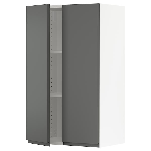 """SEKTION Wall cabinet with 2 doors, white/Voxtorp dark gray, 24x15x40 """""""