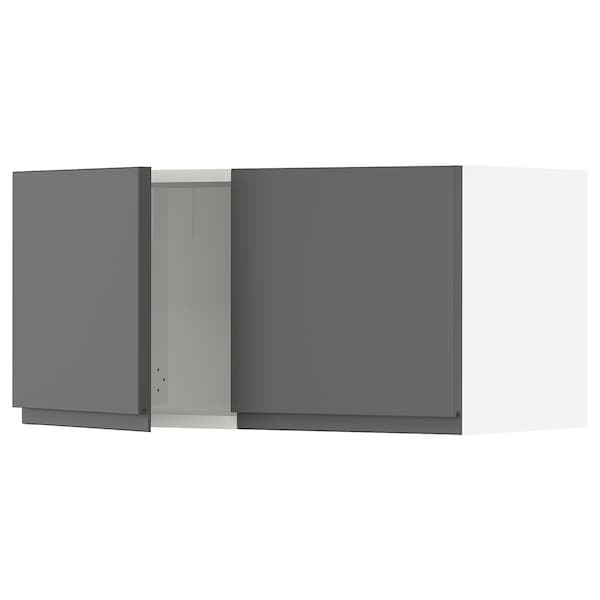 """SEKTION Wall cabinet with 2 doors, white/Voxtorp dark gray, 30x15x15 """""""