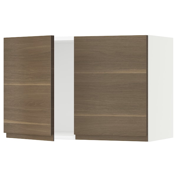 """SEKTION Wall cabinet with 2 doors, white/Voxtorp walnut effect, 30x15x20 """""""