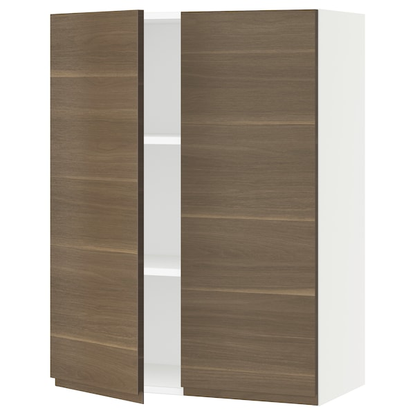 """SEKTION Wall cabinet with 2 doors, white/Voxtorp walnut effect, 30x15x40 """""""