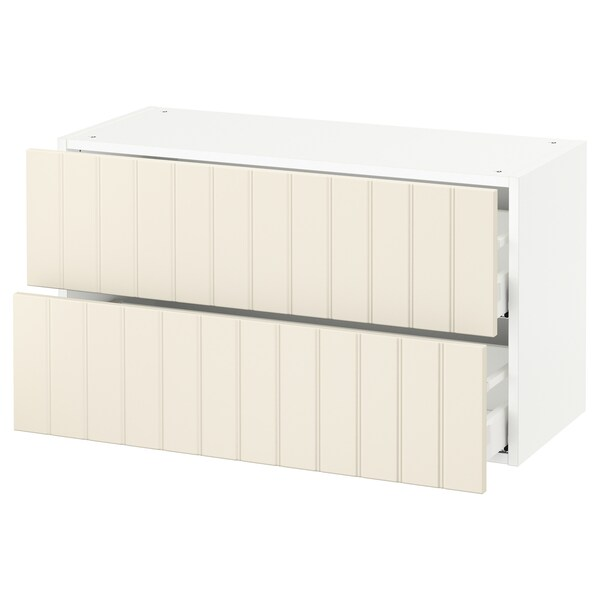 "SEKTION wall cabinet with 2 drawers white Maximera/Hittarp off-white 36 "" 15 1/2 "" 15 "" 20 """