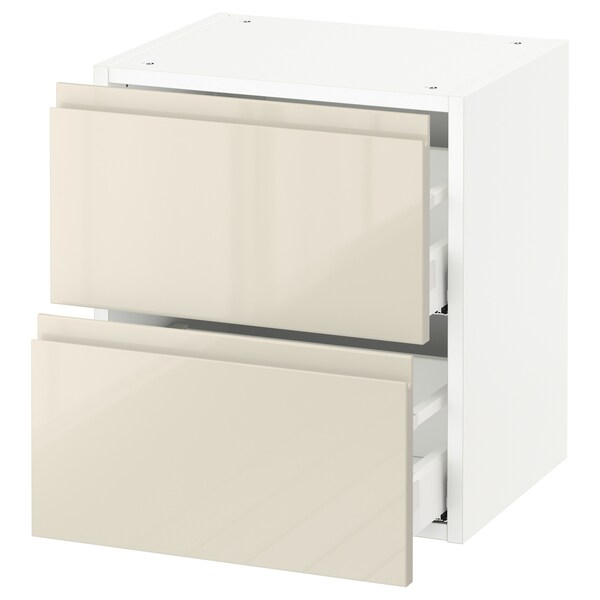 "SEKTION wall cabinet with 2 drawers white Maximera/Voxtorp high-gloss light beige 18 "" 15 3/8 "" 15 "" 20 """
