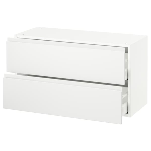 "SEKTION wall cabinet with 2 drawers white Maximera/Voxtorp matt white 36 "" 15 3/8 "" 15 "" 20 """