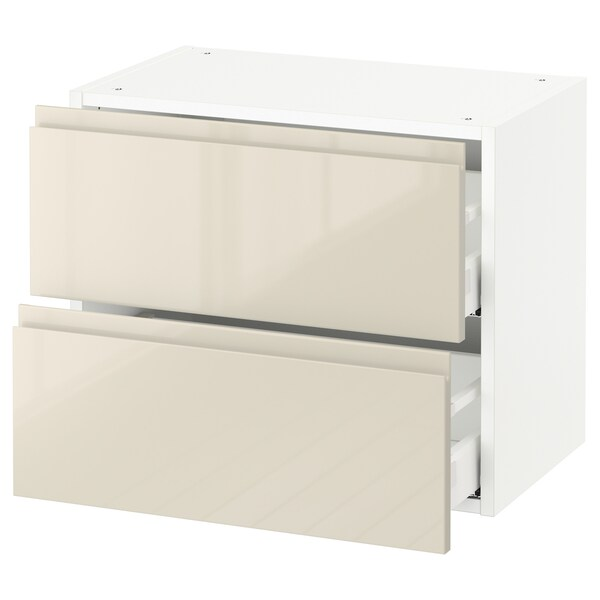 """SEKTION wall cabinet with 2 drawers white Maximera/Voxtorp high-gloss light beige 24 """" 15 3/8 """" 15 """" 20 """""""