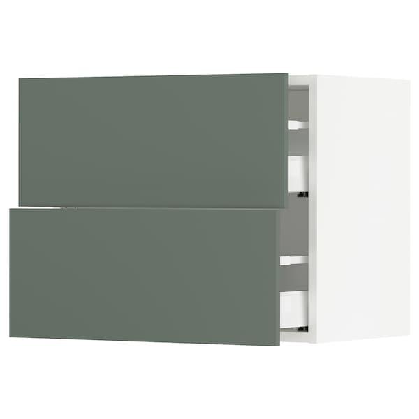 "SEKTION wall cabinet with 2 drawers white Maximera/Bodarp gray-green 24 "" 15 1/2 "" 15 "" 20 """