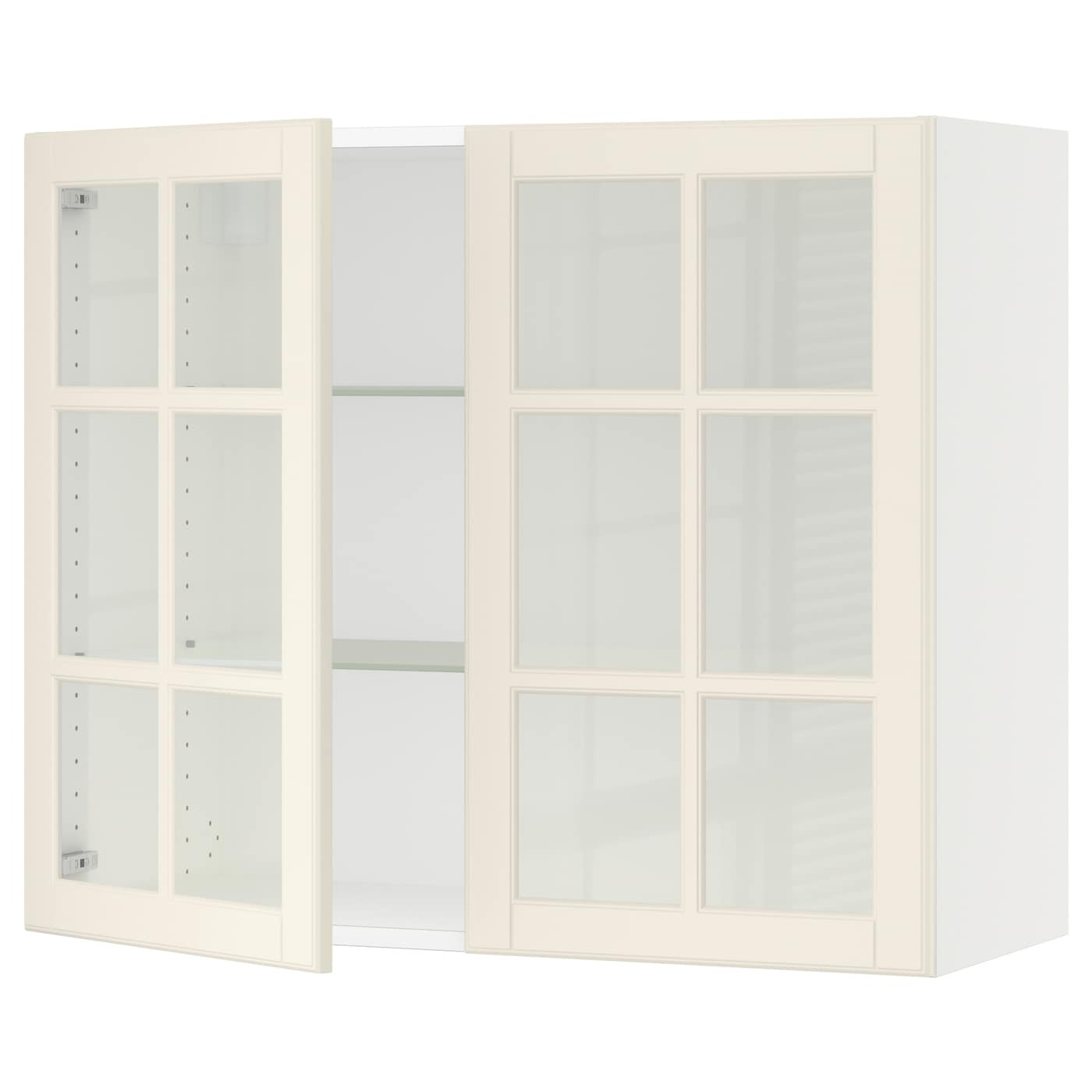 Sektion Wall Cabinet With 2 Glass Doors White Bodbyn Off White 36x15x30 Ikea