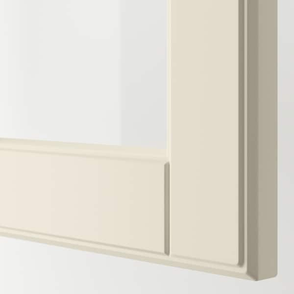 """SEKTION Wall cabinet with 2 glass doors, white/Bodbyn off-white, 30x15x40 """""""