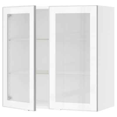 "SEKTION wall cabinet with 2 glass doors white/Jutis frosted glass 30 "" 15 "" 15 1/2 "" 30 """