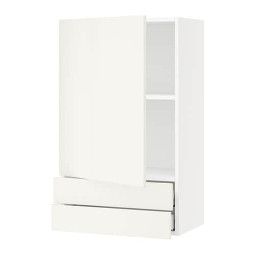 Sektion Wall Cabinet With Door 2 Drawers Veddinge White