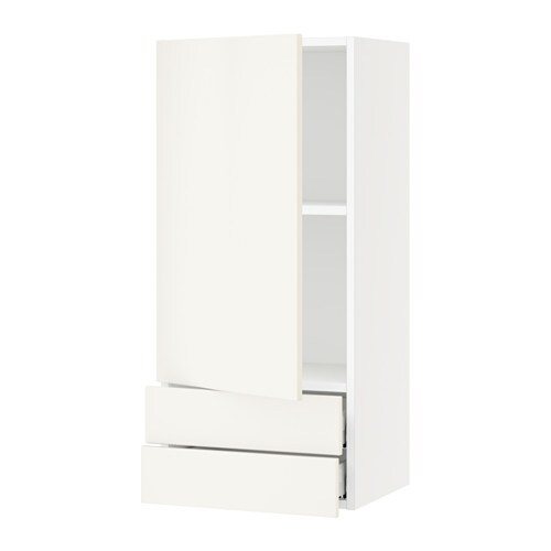 sektion wall cabinet with door 2 drawers white