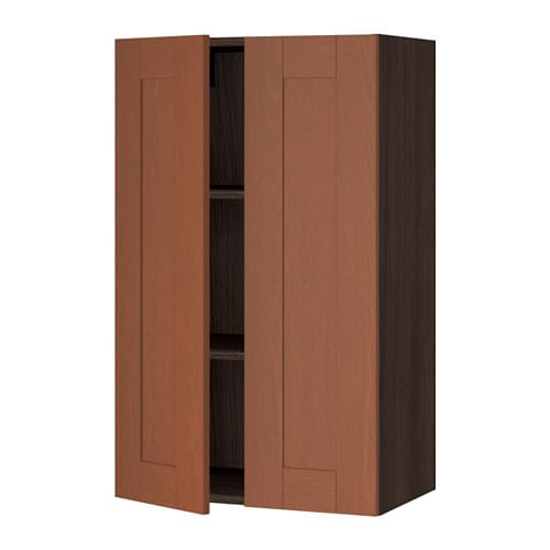 Sektion wall cabinet with 2 doors wood effect brown for Wood effect kitchen doors