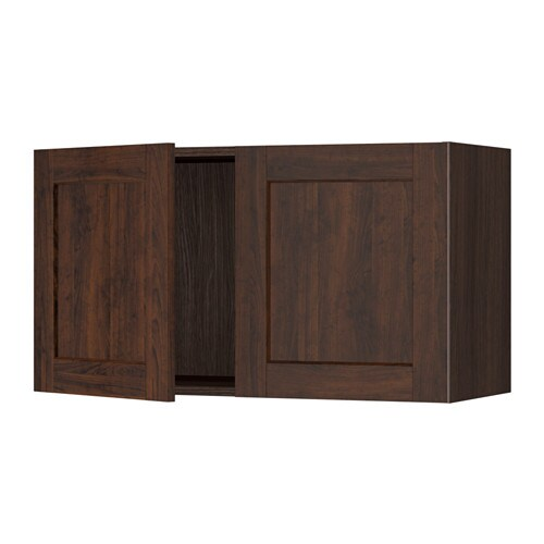 Sektion Wall Cabinet With 2 Doors Wood Effect Brown