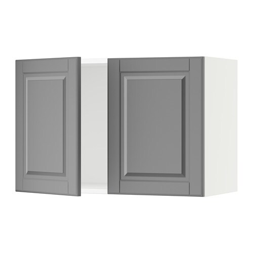 Sektion Wall Cabinet With 2 Doors White Bodbyn Gray 30x15x20 Ikea