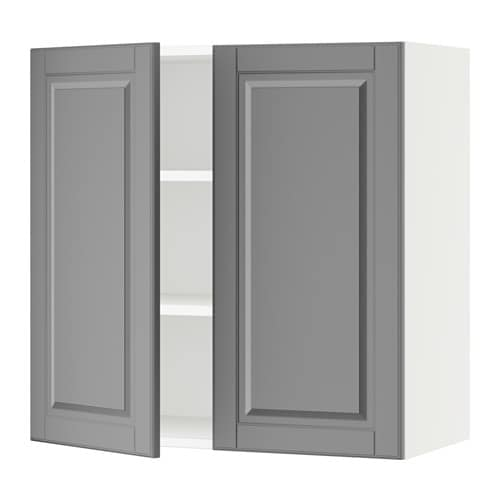 SEKTION Wall cabinet with 2 doors - white, Bodbyn gray, 30x15x30 ...