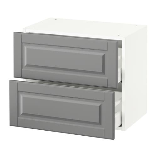 sektion wall cabinet with 2 drawers white bodbyn gray