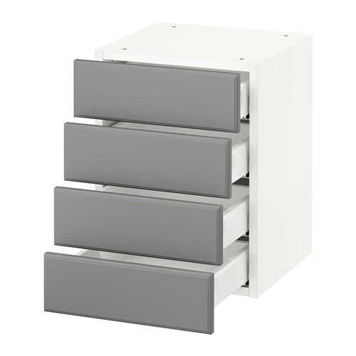 sektion wall cabinet with 4 drawers white bodbyn gray