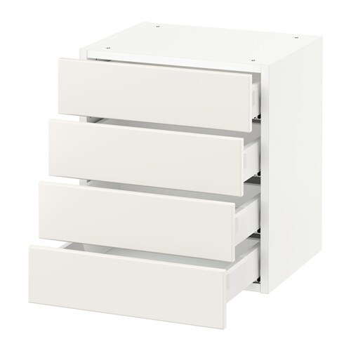 Sektion Wall Cabinet With 4 Drawers White Veddinge