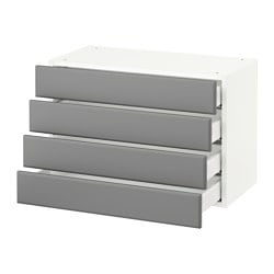 SEKTION wall cabinet with 4 drawers, white Maximera, Bodbyn gray