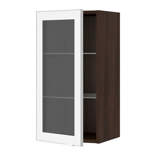 Ikea Alang Floor Lamp Nickel Plated White ~ Wall cabinet with glass door  wood effect brown, Jutis frosted glass
