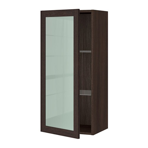 Sektion wall cabinet with glass door wood effect brown - Ikea glass cabinets ...