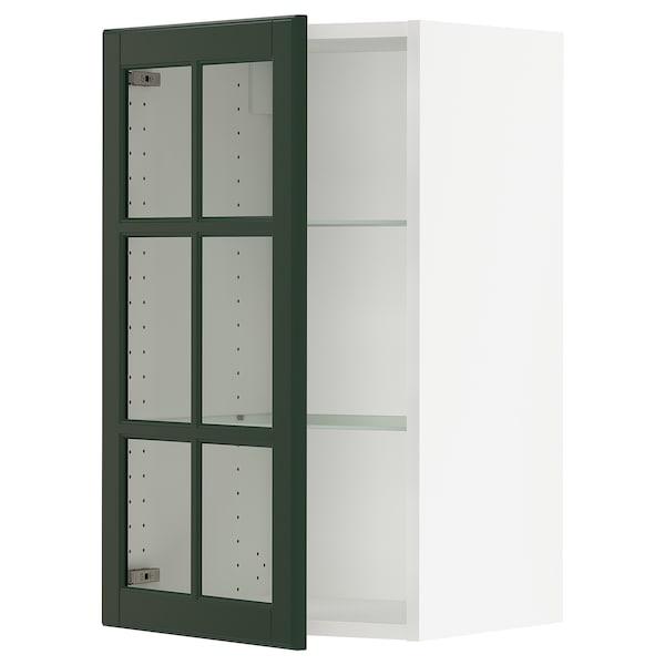 "SEKTION Wall cabinet with glass door, white/Bodbyn dark green, 18x15x30 """