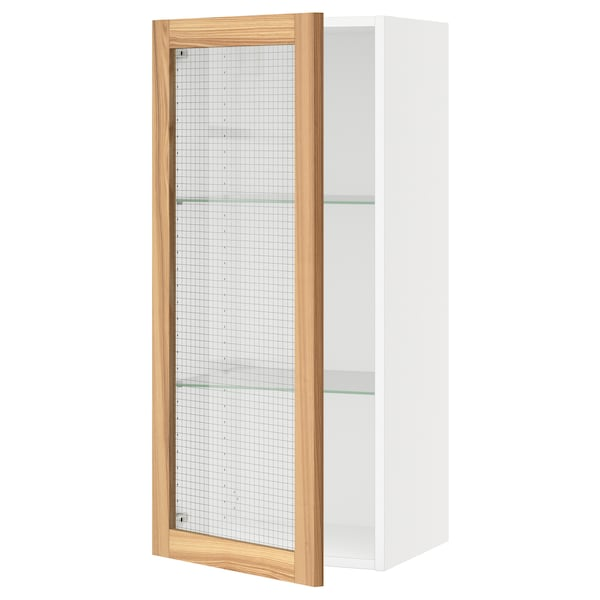 SEKTION Wall cabinet with glass door, white/Torhamn ash, 18x15x40 ""