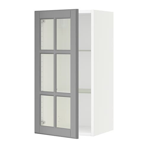 sektion wall cabinet with glass door white bodbyn gray. Black Bedroom Furniture Sets. Home Design Ideas