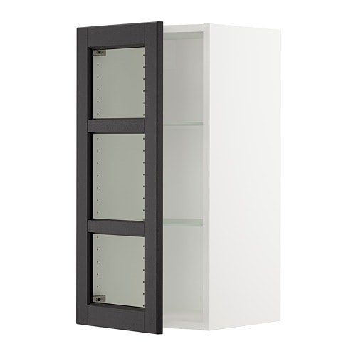 Sektion Wall Cabinet With Glass Door Lerh Black Stained 15x15x30