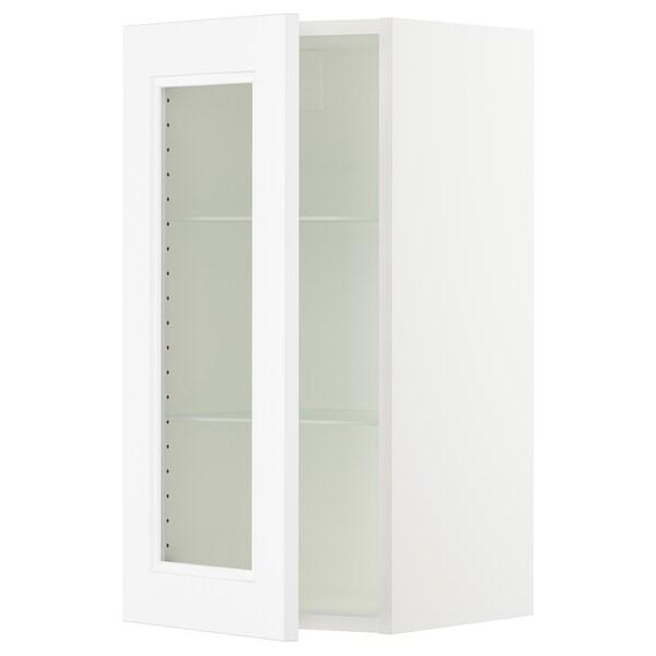 "SEKTION wall cabinet with glass door white/Axstad matt white 15 "" 15 "" 15 1/2 "" 30 """