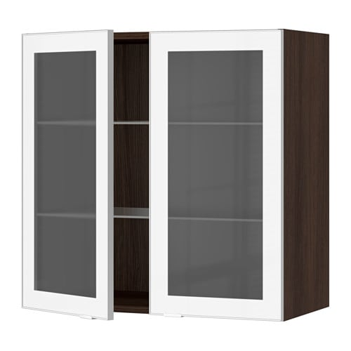 Cabinet With 2 Glass Doors Wood Effect Brown Jutis Frosted Glass